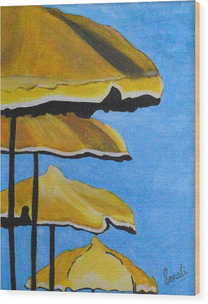 Lounging Under The Umbrellas On A Bright Sunny Day Wood Print