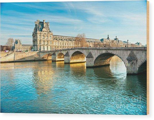 Louvre Museum And Pont Royal - Paris  Wood Print