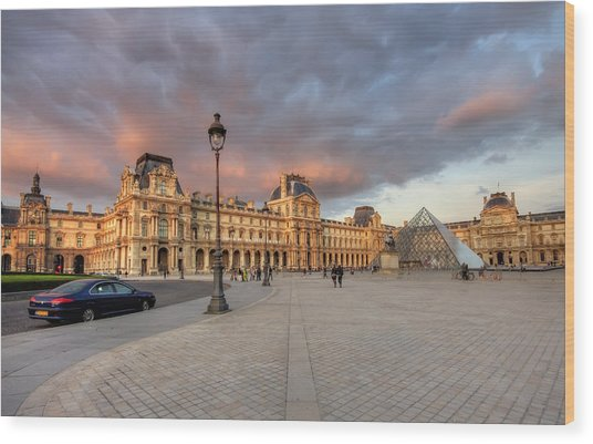 Louvre Museum At Sunset Wood Print by Ioan Panaite