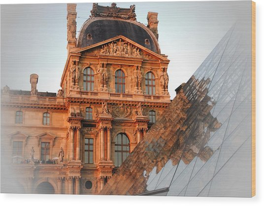 Louvre And Pei Wood Print by Jacqueline M Lewis