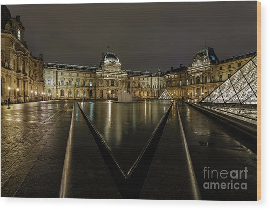 Louvre Pyramid And Pavillon Richelieu Wood Print by Rostislav Bychkov
