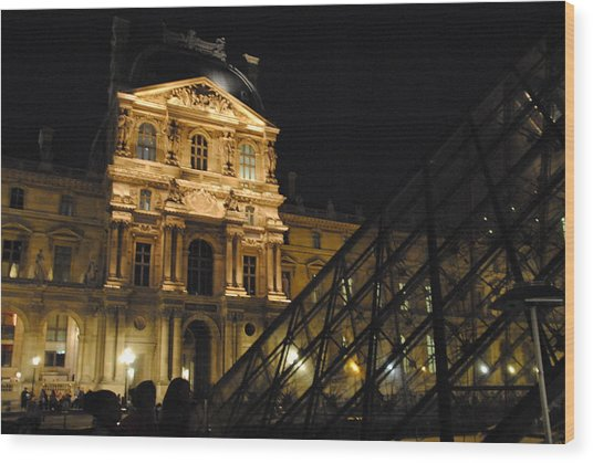 Louvre With Pyramid - Nite Wood Print by Jacqueline M Lewis