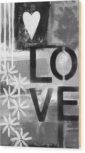 Love- Abstract Painting Wood Print