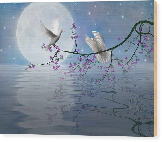 Love Birds By The Light Of The Moon-2 Wood Print