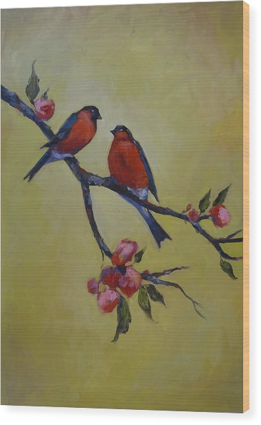 Love Birds Wood Print by Kelley Smith