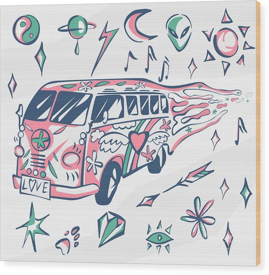 Love Bus Vector Poster. Hippie Car Wood Print