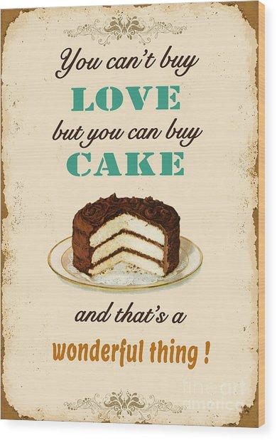 Love Cake Typography Wood Print