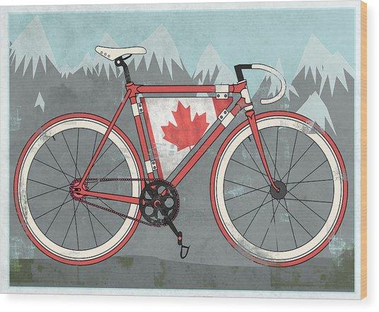 Love Canada Bike Wood Print