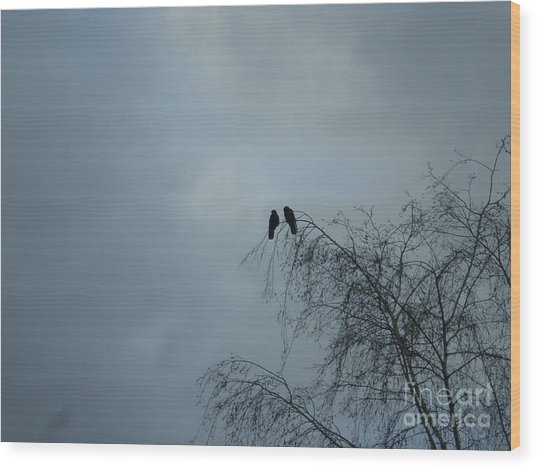 Love Crows Wood Print