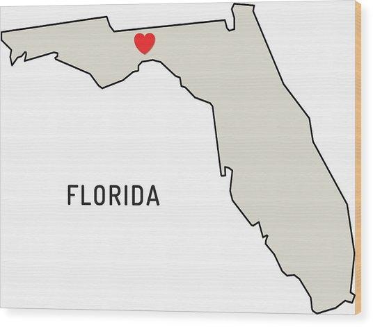 Love Florida State Wood Print