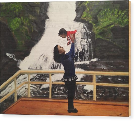 Love Flows Like The Waterfalls Wood Print