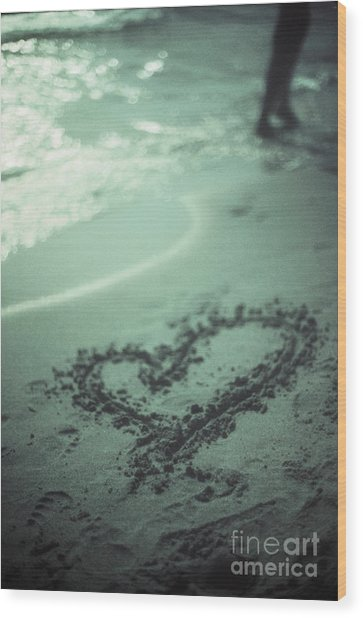 Love Heart Drawn On Beach Sand At Low Tide With Ocean Sea Wood Print by Edward Olive
