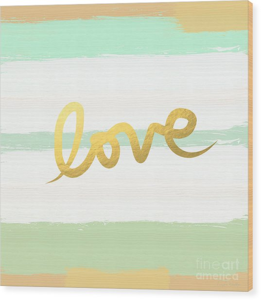Love In Mint And Gold Wood Print