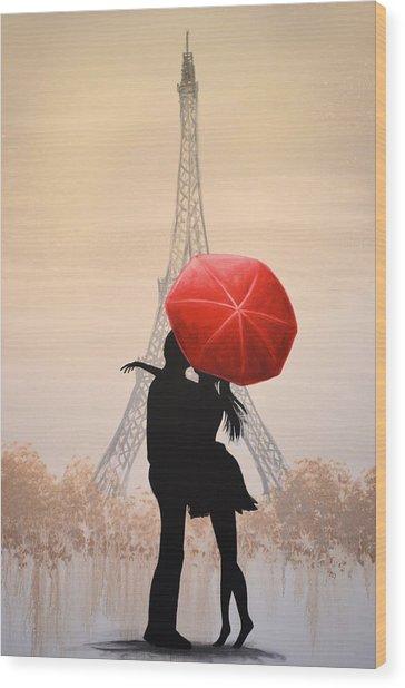 Love In Paris Wood Print