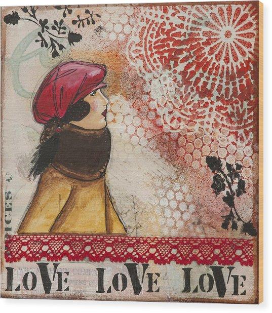 Love Inspirational Mixed Media Folk Art Wood Print