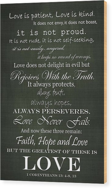 Love Is Patient Green Wood Print
