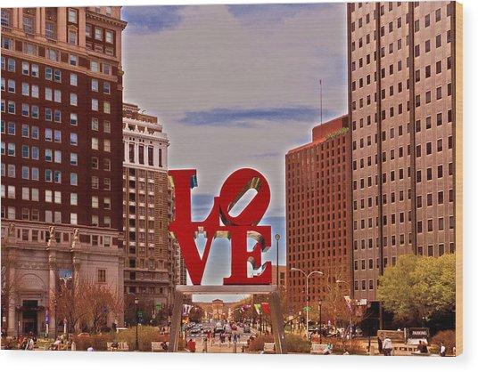 Love Sculpture - Philadelphia - 2 Wood Print