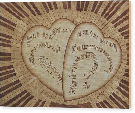 Wood Print featuring the painting Love Song Of Our Hearts by Georgeta Blanaru