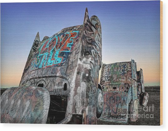 Love To All Cadillac Ranch Wood Print