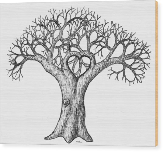 Love Tree Wood Print
