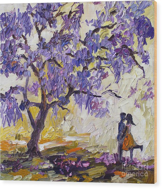 Love Under The Jacaranda Tree Wood Print