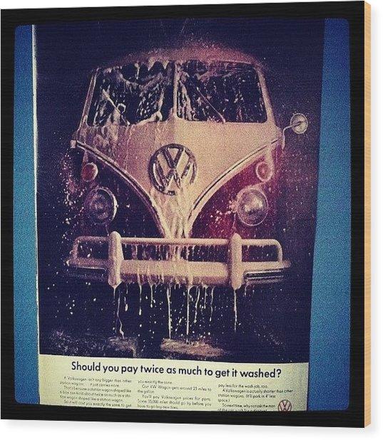 Love Vw Ads🚌 #vw#bus#vintage#ads Wood Print