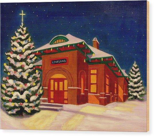 Loveland Depot At Christmas Wood Print