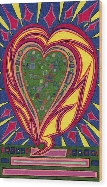 Love's Brilliance Illuminated Wood Print
