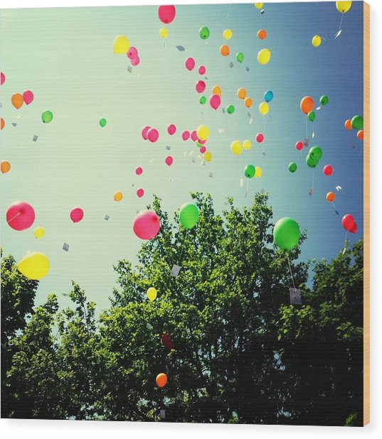 Low Angle View Of Balloons Wood Print by Christin Borbe / Eyeem