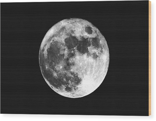 Low Angle View Of Moon Against Clear Sky At Night Wood Print by Mark Sutton / EyeEm
