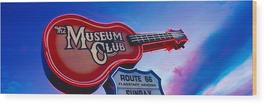 Low Angle View Of Museum Club Sign Wood Print