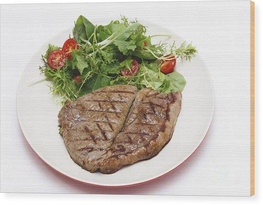 Low Carb Steak And Salad Wood Print