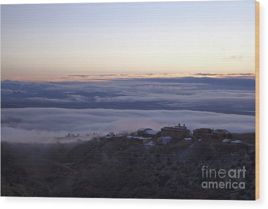 Low Lying Clouds In Waves Before Sunrise Over Jerome Arizona Wood Print