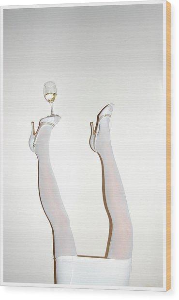 Low Section Of Woman Balancing Wine Wood Print by Kostis Fokas / Eyeem