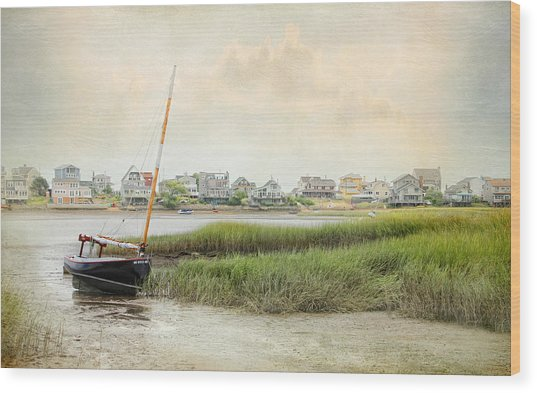 Low Tide On The Basin Wood Print