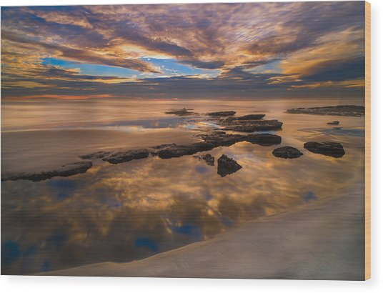 Low Tide Reflections Wood Print by Larry Marshall