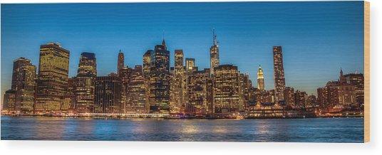 Lower Manhattan At Night Wood Print