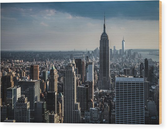 Lower Manhattan Featuring The Empire State Building Wood Print