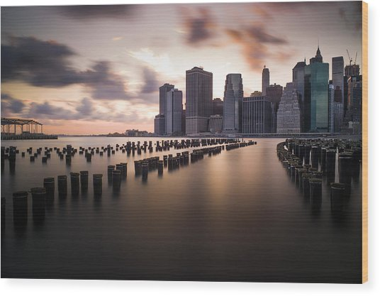Lower Manhattan From Brooklyn Wood Print by Chris Halford