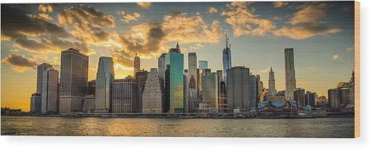 Lower Manhattan Sunset 3-1 Wood Print
