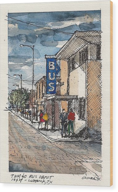 Lubbock Bus Station Wood Print