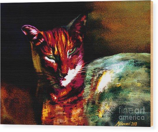 Lucifer Sam Tiger Cat Wood Print