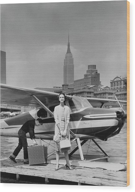 Lucille Cahart With Small Plane In Nyc Wood Print