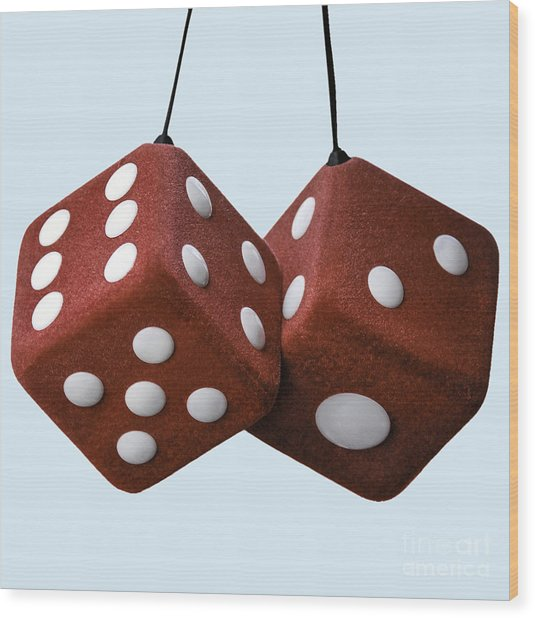 Lucky Fuzzy Red Dice  Wood Print