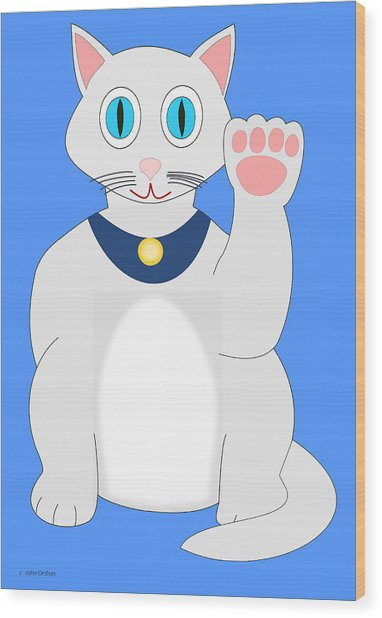 Lucky Gray And White Cat Wood Print