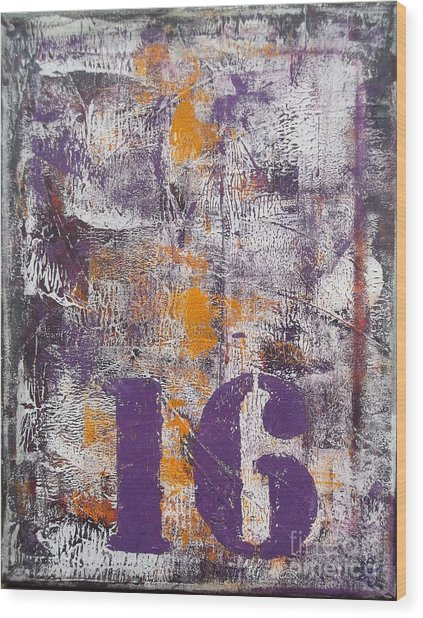Lucky Number 16 Purple Orange Grey Abstract By Chakramoon Wood Print by Belinda Capol
