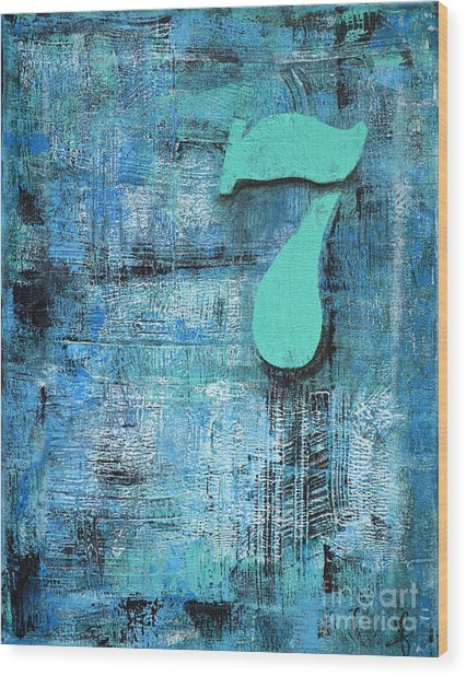 Lucky Number 7 Blue Turquoise Abstract By Chakramoon Wood Print by Belinda Capol