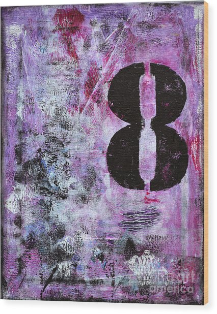 Lucky Number 8 Pink Black White Abstract By Chakramoon Wood Print by Belinda Capol