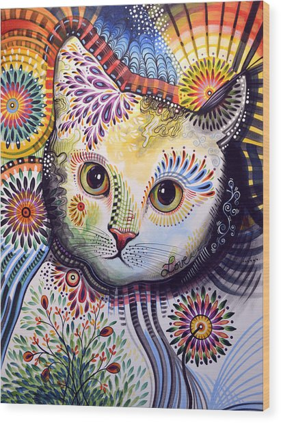 Lucy ... Abstract Cat Art Wood Print