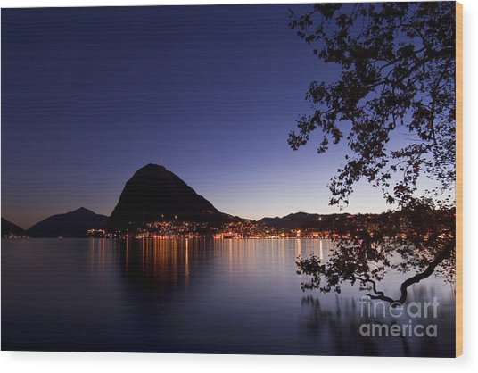 Lugano By Night Wood Print